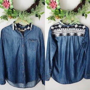 Urban Outfitters BDG Embroidered Back Chambray Top